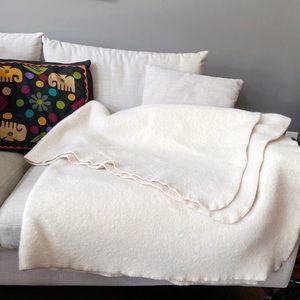 Alicia Adams Alpaca Wool Blend Cream Field Blanket